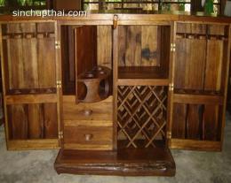 ตู้เคาน์เตอร์บาร์ไม้สักเก่าแต่งไม้เกวียน