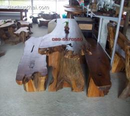 ชุดโต๊ะรากไม้  เก้าอี้ตัวยาว 2