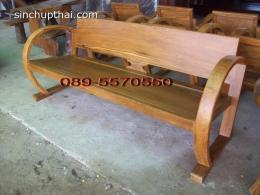 เก้าอี้โซฟารถถังไม้สักเก่าแขนโค้ง