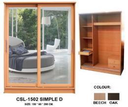 ตู้เสื้อผ้าบานสไลด์ 120,150 Simple D