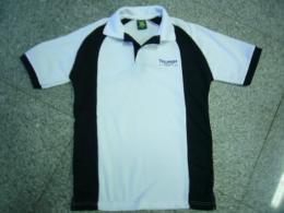 เสื้อโปโล ลาครอสตัดต่อแต่งสีขาว-ดำ polo446