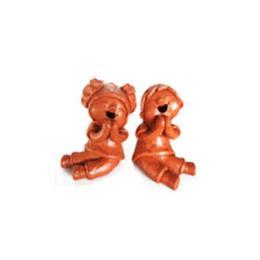 ตุ๊กตาดินเผาเด็กนั่งไหว้คู่ชายหญิง(SCD037)