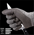 08-ถ001-306 ถุงมือผ้าเคลือบPU Dyneema กันบาดCut 5 สีเทา-ดำ