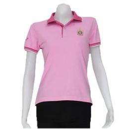 เสื้อโปโลผู้หญิงแขนจั้ม สีชมพู
