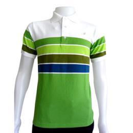 เสื้อโปโลลายริ้วสีเขียว ผ้าลาคอส