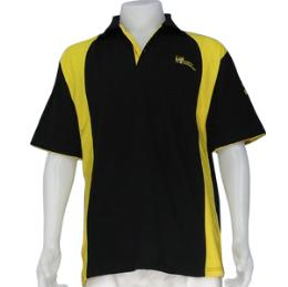 เสื้อโปโลสีดำแถบเหลือง ผ้าจุติ