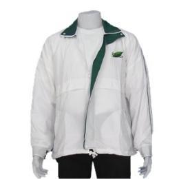 เสื้อแจ็คเก็ตผ้าร่ม สีขาวปกเขียว
