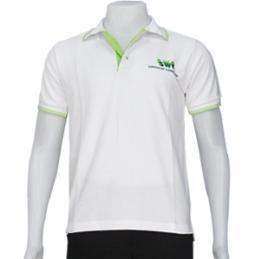 เสื้อโปโล สีขาวแต่งแถบเขียว