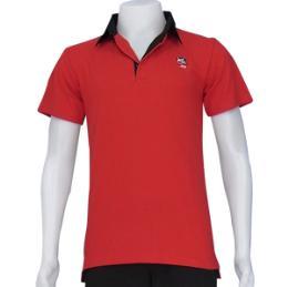 เสื้อโปโลสีแดงสาบบนสีดำ