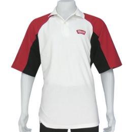 เสื้อโปโล สีขาวไหล่สโลบสีแดงตัดต่อสีดำ