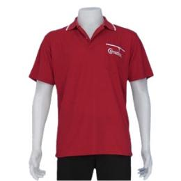 เสื้อโปโล สีแดงปกทอสีแดงริ้วขาว