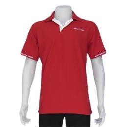 เสื้อโปโล สีแดงปักแขนปักอกซ้ายปักหลัง