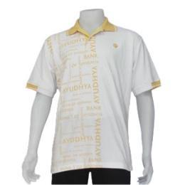 เสื้อโปโล สีขาวสกรีนลายสีเหลืองด้านหน้า