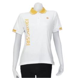เสื้อโปโล สีขาวปกทอสีเหลืองริ้วขาว