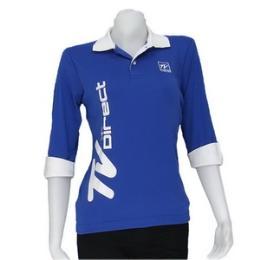 เสื้อโปโลผู้หญิงแขนสาวส่วน สีน้ำเงิน