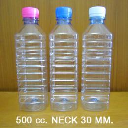 ขวดน้ำดื่มใส  ขนาด 500 ซีซี. ทรงเหลี่ยม