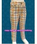 กางเกงขายาวผ้าลายสก๊อตโทนสีส้ม ทรงเดฟ