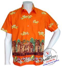 เสื้อเชิ้ตดอกลำดวน ชาย/สีส้ม รหัส S17S01