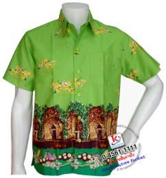 เสื้อเชิ้ตดอกลำดวน ชาย/สีเขียว รหัส S17S01