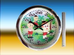นาฬิกาแขวนกลม สีเงินเงา
