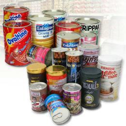 กระป๋องนมผงและกระป๋องอาหารแห้ง