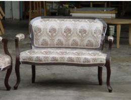 เก้าอี้โซฟาหลุยส์ ไม้สัก 2 ที่นั่ง