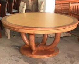 โต๊ะอาหารไม้สัก หน้าไม้อัดปุ่มมะค่า