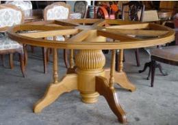 โต๊ะอาหารไม้สัก  หน้าสำหรับวางหิน