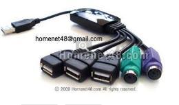 หัวต่อยูเอสบี USB HUB 3 Port พร้อม PS/2