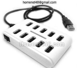 หัวต่อยูเอสบี USB HUB 10 Port คุณภาพดี มีสวิตซ์ตัด