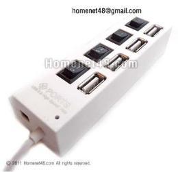 หัวต่อยูเอสบี USB HUB 2.0 (4 Port) สวิตช์แยก 4 ตัว