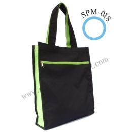กระเป๋าชอปปิ้งBag ผ้า 600 D สีดำข้างเขียว