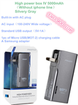 High power box IV 5000mAh(Without iphone line)Silvery Gray