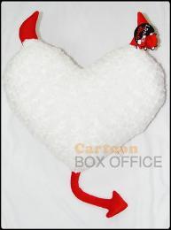 หมอนหัวใจเดวิล สีขาวเขาแดง