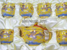 ชุดน้ำชา-ชุดชงชา-กาน้ำชาชุดกาเนื้อดี-ลายมังกร พร้อมถ้วยหนา 2 ชั้น