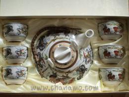 ชุดน้ำชา-ชุดชงชา-กาน้ำชา  ชุดลายสามก๊ก (ใหญ่) ถ้วย 6 ใบ