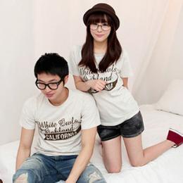 เสื้อยืดคู่รักเกาหลีพิมพ์ลายตัวอักษร CALIFORNIA QIZ3
