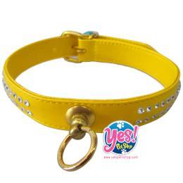 ปลอกคอสุนัข สีเหลือง ขนาด กว้าง 2 ซม. ยาว 35-40 ซม.