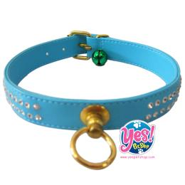 ปลอกคอสุนัข สีฟ้า ขนาด กว้าง 2 ซม. ยาว 35-40 ซม.