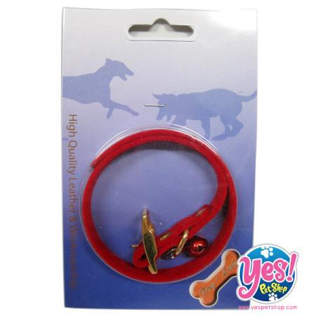 ปลอกคอลูกสุนัข สีแดง กว้าง 0.5 นิ้ว ยาว 8.5 ถึง11.5 นิ้ว