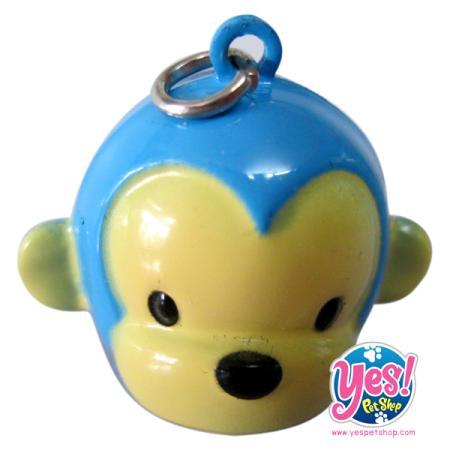 ลูกกระพรวนสุนัข รูปหน้าหมี สีฟ้า