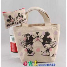 กระเป๋าผ้าพิมพ์ลาย Mickey & Minnie เซ๊ตคู่ B417