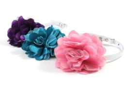 ปลอกคอสายหนัง ดอกไม้ผ้าซาตินซ้อนผ้าตาข่าย