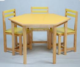 โต๊ะเก้าอี้กิจกรรมกลุ่ม 6 เหลี่ยม 6 ที่นั่ง ระดับ มัธยม