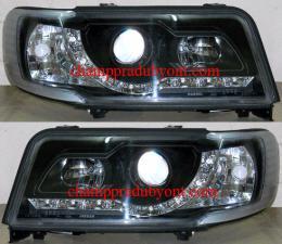 ไฟหน้ารถยนต์ AUDI 100 90-94 ดำ มุมติด LED ยาว