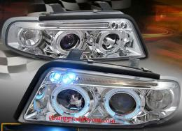 ไฟหน้ารถยนต์ AUDI A4 95-00 ขาว มุมติด วงแหวน V.2