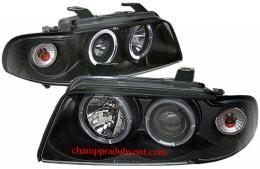 ไฟหน้ารถยนต์ AUDI A4 95-00 ดำ มุมติด วงแหวน