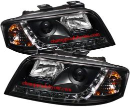 ไฟหน้ารถยนต์ AUDI A6 98-05 ดำ LED ยาว