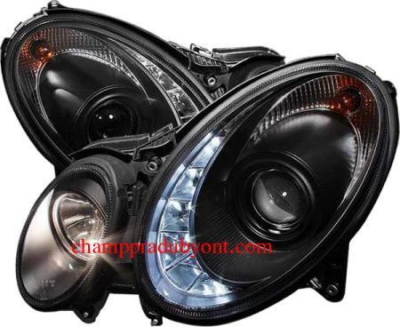 ไฟหน้ารถยนต์ BENZ E-CLASS W211 03-07 ดำ LED ยาว