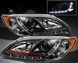 ไฟหน้ารถยนต์ MAZDA 3 4D 05-11 ดำ LED ยาว